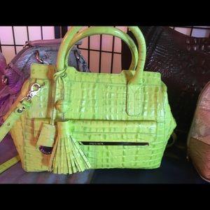 Brahmin lime green Crocs embossed leather purse